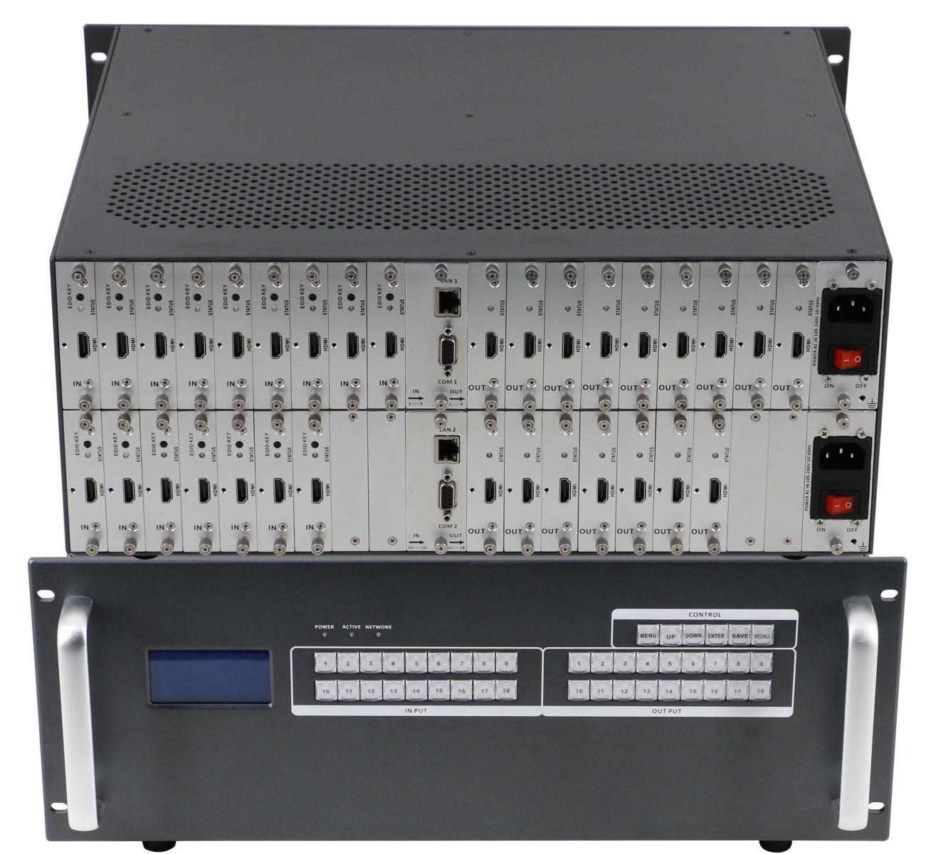 Матричный коммутатор 18 x 18 модульный с поддержкой 4K и бесподрывной коммутацией MM-1800 купить заказать