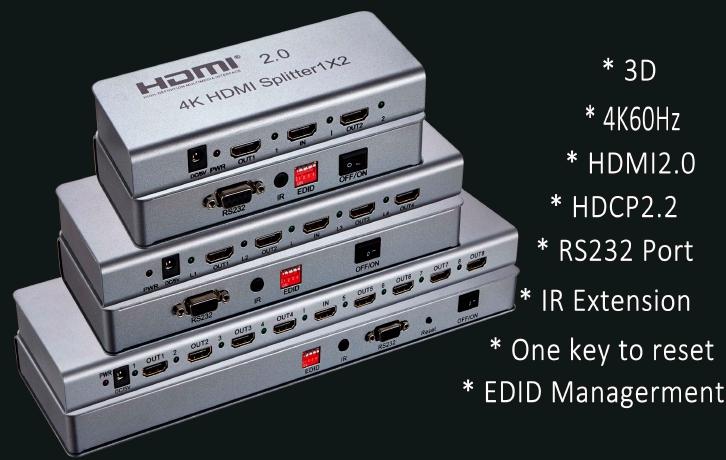 Распределитель сигнала HDMI 1х16 4K@60, HDMI2.0, HDCP2.2, EDID, RS232. SPL-HDMI-116E купить заказать